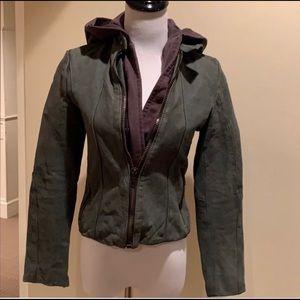 Millie leather hooded jacket